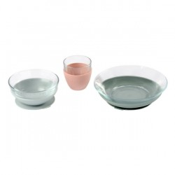 Beaba Duralex Glass Meal Set With Soft Protective Suction Pad - Eucalyptus