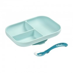 Beaba Divided Silicone Plate and Spoon Set - blue