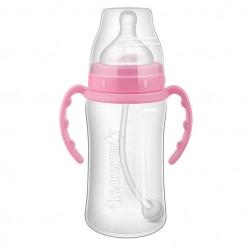 Babisil 10 oz Wide Neck PP Feeding bottle with Flexi-straw - Pink