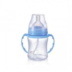 Babisil 6 oz Wide Neck PP Feeding bottle with Flexi-straw - Blue
