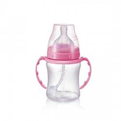 Babisil 6 oz Wide Neck PP Feeding bottle with Flexi-straw - Pink