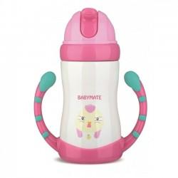 Babymate Stainless Steel Straw Bottle - Pink