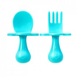 Grabease Fork and Spoon Set- Teal