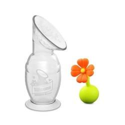 Haakaa Silicone Breast Pump( 150ml) + Flower Stopper (orange) Gift Set
