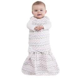 HALO SleepSack Swaddle, Cotton Muslin - Chevron Pink