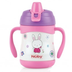 Nuby No-Spill Stainless Steel Insulate Cup 220ml - Rabbit