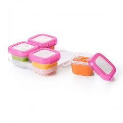 OXO tot Baby Blocks Freezer Storage Containers - 120 ml , Pink