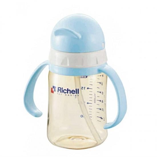 Richell PPSU straw bottle 200 ml - Light blue