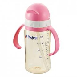 Richell PPSU straw bottle 260 ml - Pink